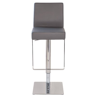 Marcelo Leather Hydraulic Adjustable Height Swivel Bar Stool Upholstery: Gray
