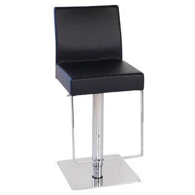 Marcelo Leather Hydraulic Adjustable Height Swivel Bar Stool Upholstery: Black