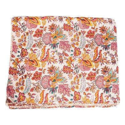 Vintage Kantha Indian Handmade Colorful Floral Throw Blanket