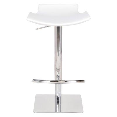 Raven Adjustable Height Bar Stool Upholstery: White