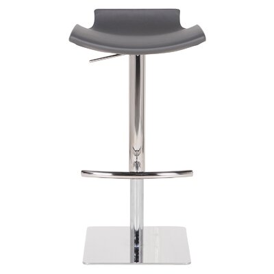 Raven Adjustable Height Bar Stool Upholstery: Gray