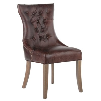 Mustang Tufted Genuine Leather Upholstered Dining Chair