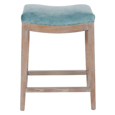 Catherine Bar Stool with Cushion Upholstery: Peacock Blue