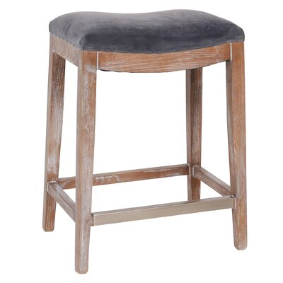 Catherine Bar Stool with Cushion Upholstery: Charcoal Grey