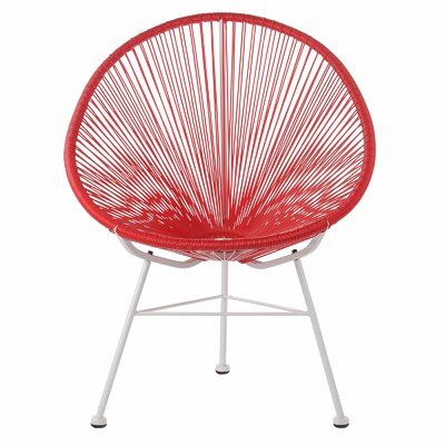 Acapulco Woven Basket Lounge Chair Fabric: Red