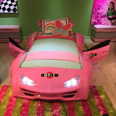 Twin Car Bed Finish: Pink