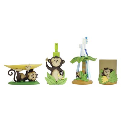 Monkey Kids 4-Piece Bathroom Accessory Set BS-MK-A