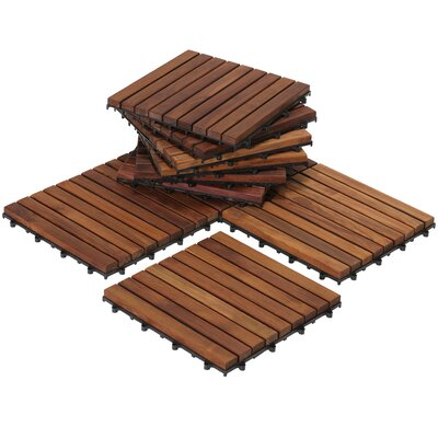 EZ-Floor Interlocking 12 x 12 Snap-In Deck Tiles in Oiled