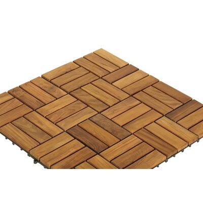EZ-Floor Wood 12 x 12 Interlocking Flooring Tile Trim in Teak
