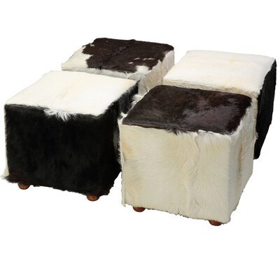 Snowmass Village Cowhide Cube Leather Ottoman Upholstery: Black Cowhide
