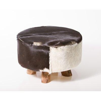Sayer Leather Ottoman Upholstery: Black and White