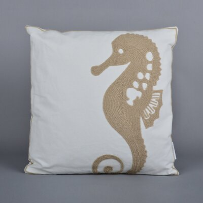Seahorse Embroidered Throw Pillow Color: Taupe