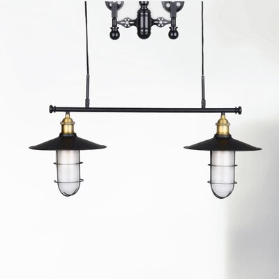 Restoration Iron Pulley 2-Light Chandelier