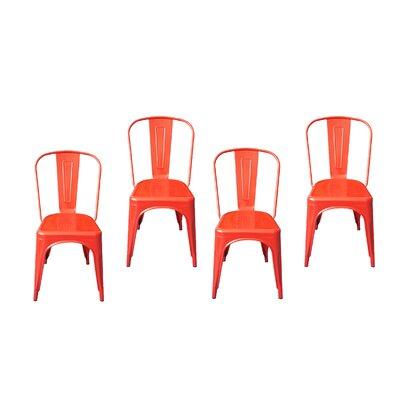 Tolix Modern Designer Metal Side Chair Finish: Red