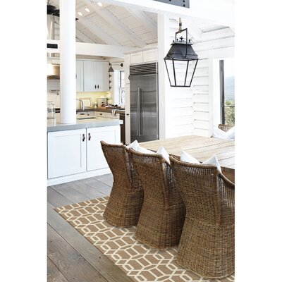 Hand Woven Tan Indoor/Outdoor Area Rug Rug Size: 5 x 7