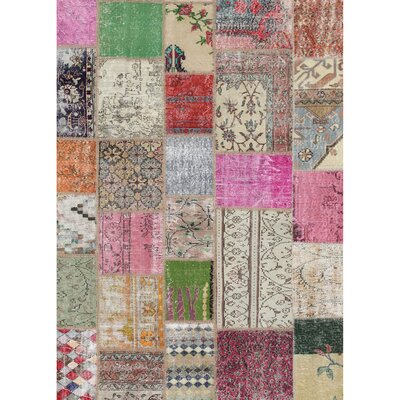 Patchwork Boho Beige/Pink Indoor/Outdoor Area Rug