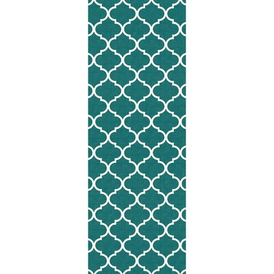 Moroccan Teal Indoor/Outdoor Area Rug Rug Size: Runner 26 x 7