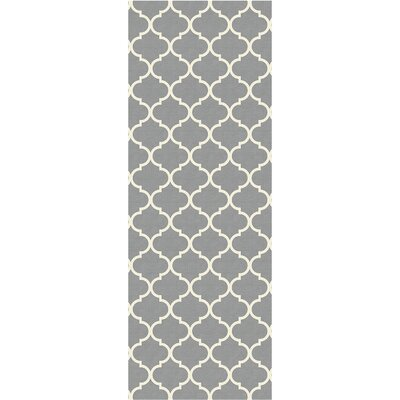 Gordon Trellis Light Gray Indoor/Outdoor Area Rug Rug Size: Runner 26 x 7