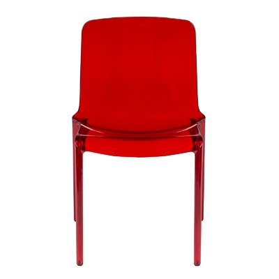 Maryln Stacking Patio Dining Chair Finish: Transparent Red