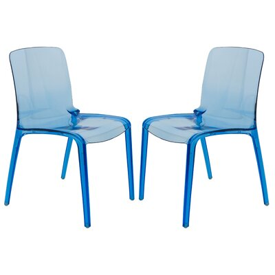Maryln Stacking Patio Dining Chair Finish: Transparent Blue