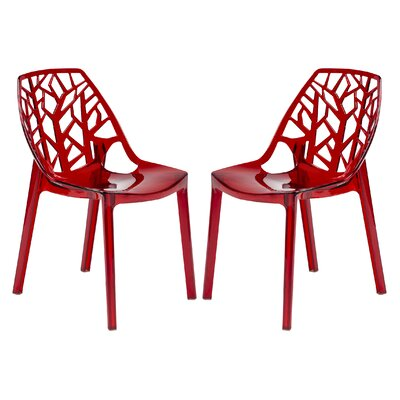 Kimonte Solid Back Side Chair Finish: Transparent Red