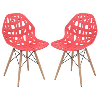 Macalester Solid Wood Dining Chair Color: Red