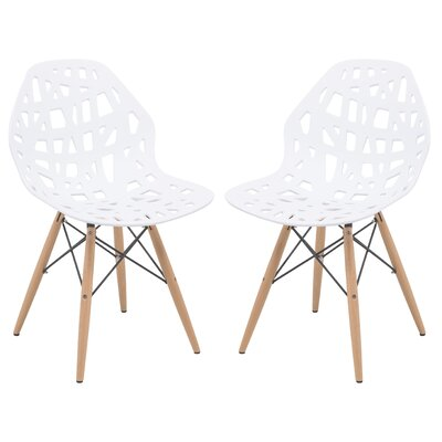 Akron Solid Wood Dining Chair Finish: White