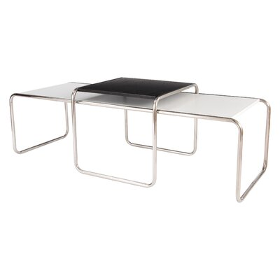 Malvern 2 Piece Coffee Table Set Color: White/Black