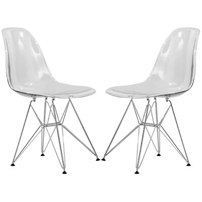 Alethia Contemporary Patio Dining Chair Finish: Clear/Chrome