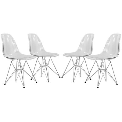 Alethia Patio Dining Chair Color: Clear/Chrome