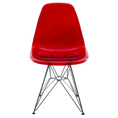 Alethia Dining Chair Color: Transparent Red/Chrome