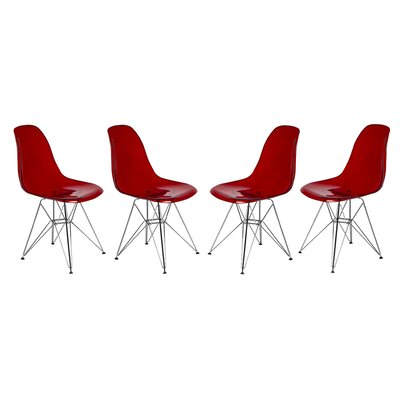 Alethia Patio Dining Chair Color: Transparent Red/Chrome