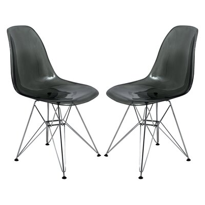 Alethia Contemporary Patio Dining Chair Finish: Transparent Black/Chrome