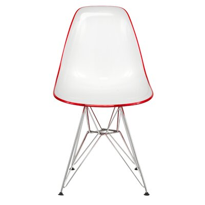 Alethia Molded 2-Tone Eiffel Patio Dining Chair Finish: White/Red
