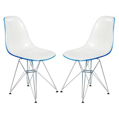 Alethia Eiffel Patio Dining Chair Finish: White/Blue