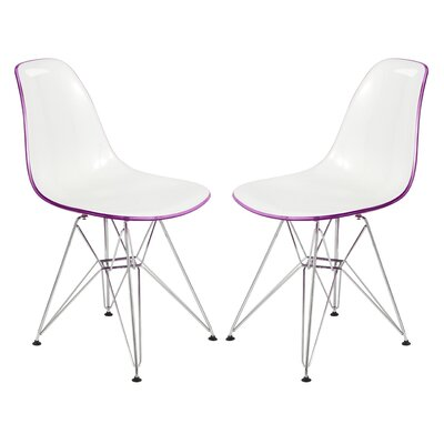 Alethia Patio Dining Chair Color: White/Purple