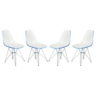Alethia Molded 2-Tone Eiffel Patio Dining Chair Finish: White/Blue