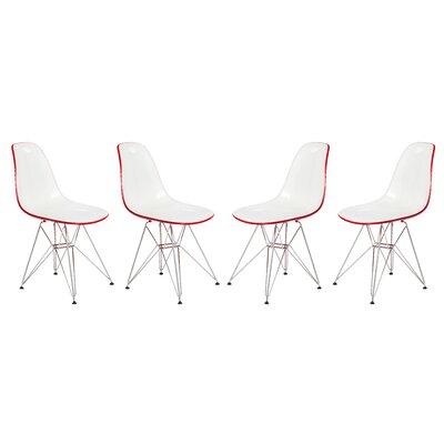 Alethia Patio Dining Chair Color: White/Red
