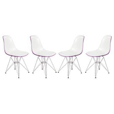 Alethia Molded 2-Tone Eiffel Patio Dining Chair Finish: White/Purple