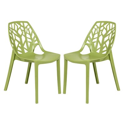 Kimonte Cut-Out Tree Stacking Patio Dining Chair Finish: Solid Green