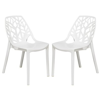 Kimonte Cut-Out Tree Stacking Patio Dining Chair Finish: Solid White