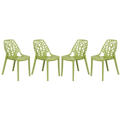 Kimonte Modern Stacking Patio Dining Chair Finish: Solid Green