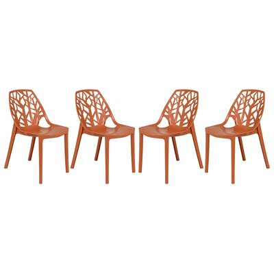 Kimonte Modern Stacking Patio Dining Chair Finish: Solid Orange