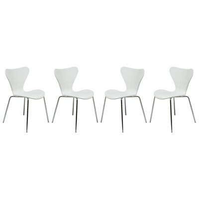 Branden Stacking Patio Dining Chair Finish: White