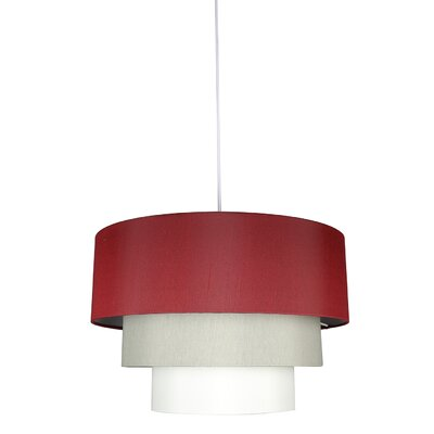 Renzo 3-Tier 1-Light Drum Pendant Shade Color: Burgundy/Moss Gray/Eggshell, Finish: White