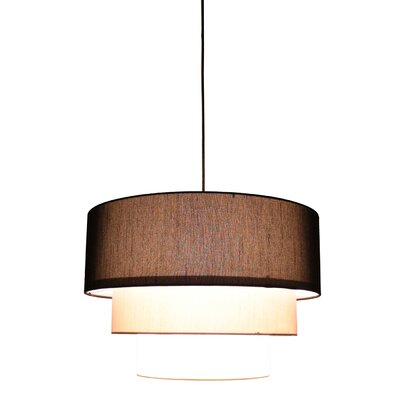 Renzo 3-Tier 1-Light Drum Pendant Finish: Black, Shade Color: Black/Moss Gray/Eggshell