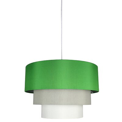 Renzo 3-Tier 1-Light Drum Pendant Shade Color: Kelly Green Moss Gray/ Eggshell, Finish: White