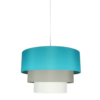 Renzo 3-Tier 1-Light Drum Pendant Shade Color: Teal/Moss Gray/Eggshell, Finish: White