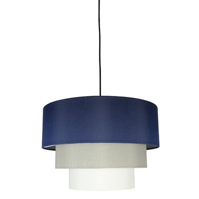 Renzo 3-Tier 1-Light Drum Pendant Finish: Black, Shade Color: Navy Blue/Moss Gray/Eggshell