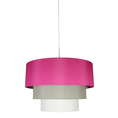 Renzo 3-Tier 1-Light Drum Pendant Shade Color: Fuchsia/Moss Gray/Eggshell, Finish: White